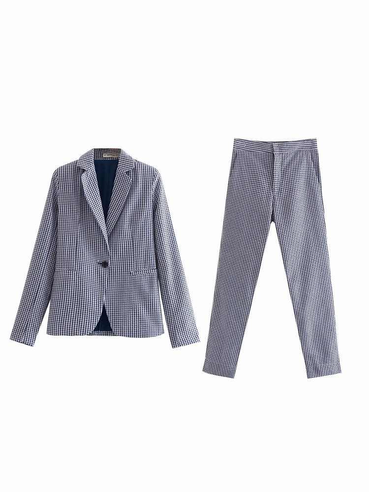 Винтажный женский хлопковый брючный костюм, весенне-летние дышащие однокнопочные карманы, длинные штаны, повседневный женский костюм