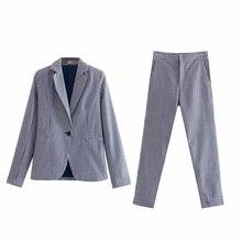 Vintage Women Bubble cotton Pant Suits Spring Summer Breathable Single Button Po