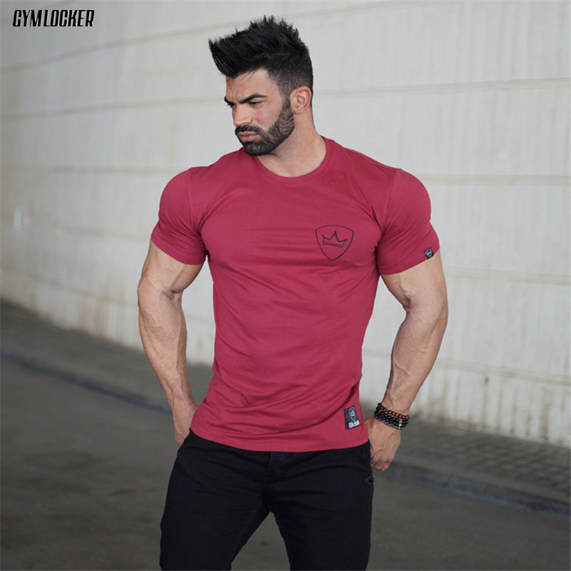 GYMLOCKER New Men's Fitness Bodybuilding T-Shirt Printed cotton shirts Crossfit Brand Slim fit Fashion leisure Short tee tops
