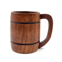 New Wooden Cup Primitive Handmade Natural Wood Coffee Tea Beer Juice Milk Pattern:H(420Ml)