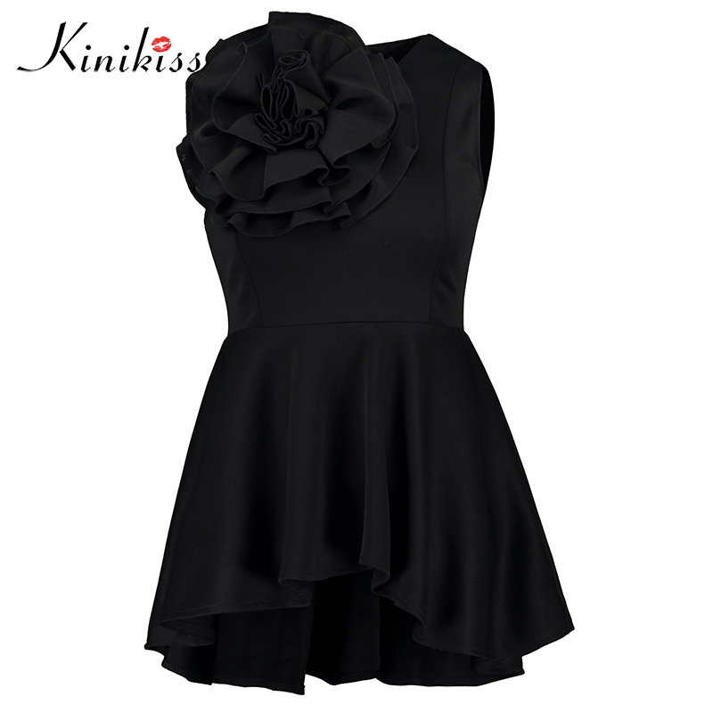 Kinikiss Women Flower Sleeveless   Shirt   Tops Yellow Appliques Ruffle Lady Office   Blouses     Shirts   Black Slim Elegant   Blouse   Tops