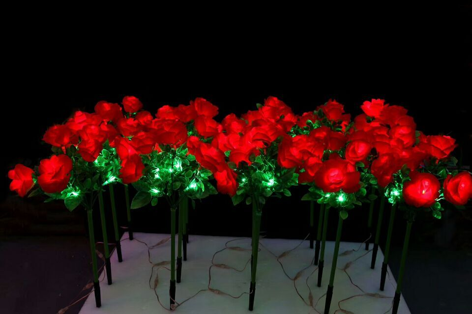 70CM LED Red rose flowers light Indoor outdoor Christmas Party Wedding valentie's Day garden patio manor villa lawn Decor