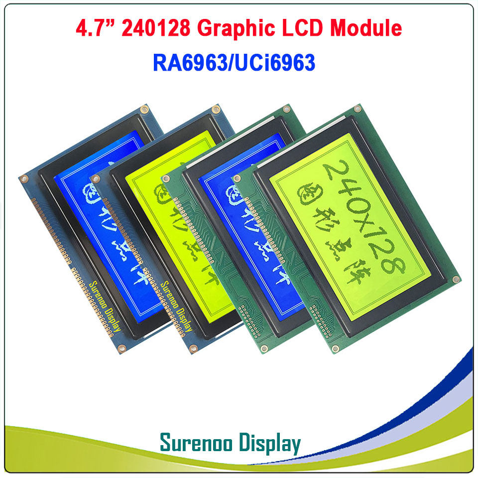 240128 240*128 Graphic Matrix LCD Module Display Screen Build-in RA6963/UCi6963 Controller Yellow Blue With Backlight