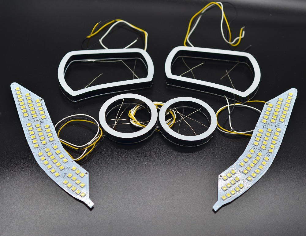 KIA K5 Exclusive Use LED Angel Eyes Square / Round Shape Full Set Custom-made DRL Two Colors White Yellow 18W 12V