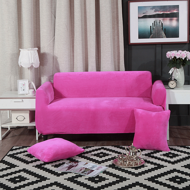 Pure Color Flower Printed Sofa Cover Universal Elastic Armchair ...