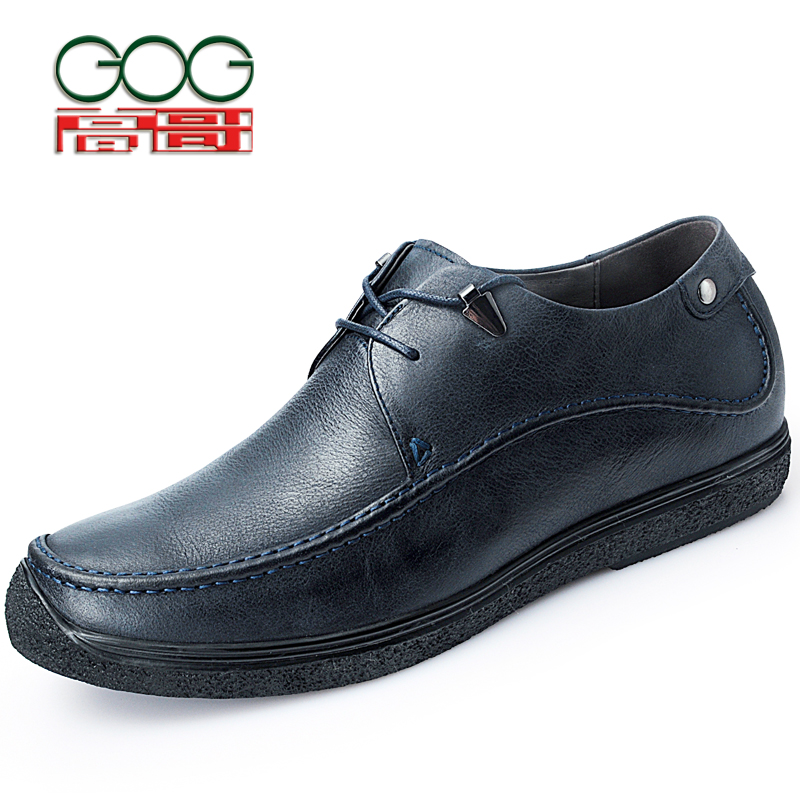 GOG Increase Height 6cmMen Elevator Shoe Slip-On Casual Height Increasing Shoes Cow Leather Elevator Shoes new arrival 2015 casual men calf leather shoes handmade high top leather elevator shoes internal height increase shoe 6 5cm