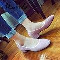 2016 otoño nueva moda talón Grueso solid mujeres pisos zapatos de cuña deslizamiento punta redonda casual zapatos de las señoras retras vendedor caliente 35-39