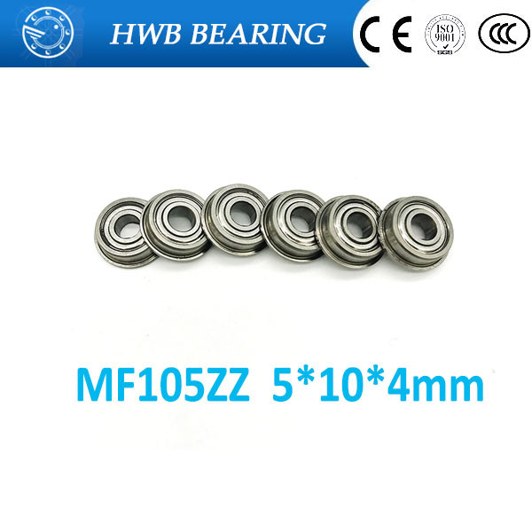 40pcs MF105 ZZ MF105ZZ <font><b>5*10*4</b></font> Miniature Flange Deep Groove Ball Radial Ball Bearings 5*10*4mm LF1050 ZZ MF105-2Z image