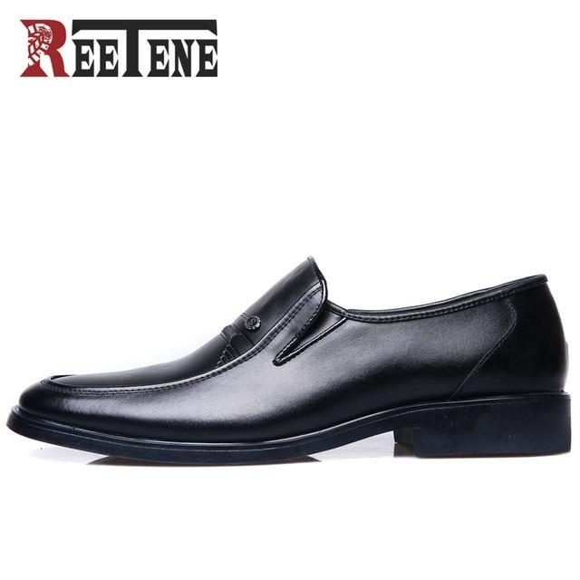 3efd20db23d REETENE Fashion Business Dress Men Shoes 2018 New Classic Leather Men S  Suits Shoes Fashion Slip On Dress Shoes Men Flats