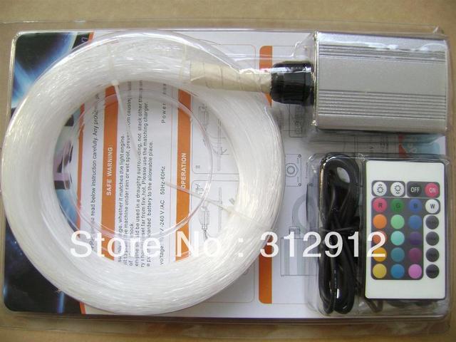 250pcs 0.75mm*3m PMMA optical fiber kit with 6W RGB light engine,RF 24key remote;model:FRP-06