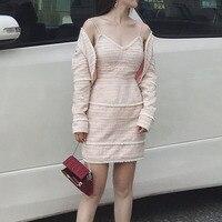 Комплект одежды из 2 предметов Для женщин с розовым пальто Для женщин теплые высокое качество женские жемчужина платье с женская одежда 2018 п