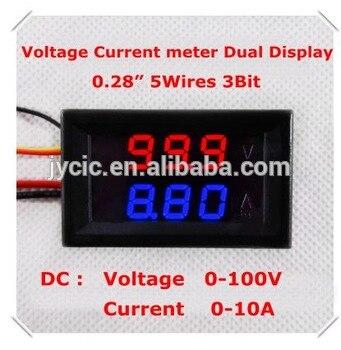 0.28Digital Ammeter Voltmeter DC0-100V/10A dual LED Display Red+blue
