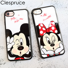 Clespruce Cartoon Mirror Mickey Mouse Minnie cover soft silicon Phone case For iPhone X 8 8plus