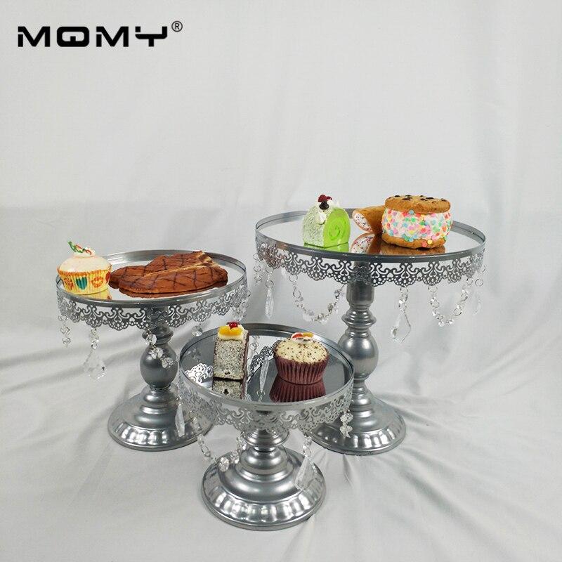 Miroir Top Gâteau Stand, Moderne Ronde En Métal De Mariage de Fête D'anniversaire Dessert Gâteau Affichage Piédestal - 5