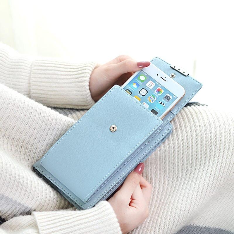 2019 las nuevas mujeres de la cartera del teléfono celular de la marca cartera grande titulares de tarjeta monedero, bolso de embrague mensajero correas de hombro bolsa