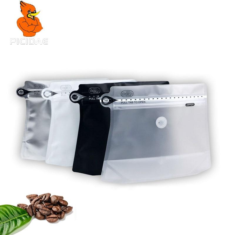 2019 novo saco de café Transparente roupa interior porca comida 250g Cachecol De Armazenamento pacote Lanche queijo válvula ziplock zipper Em Forma de diamante