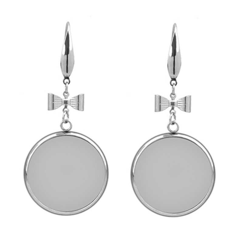 10 pcs สแตนเลสสตีลผู้หญิงต่างหู Cabochon ฐานเปล่า 12/14/16/18/20/ 25 มม. หูฟัง DIY อุปกรณ์เสริมเครื่องประดับ