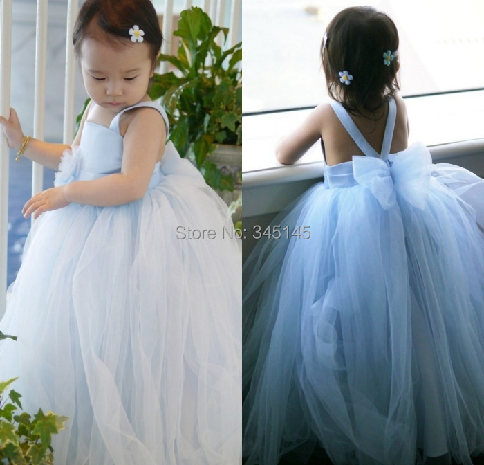 First Communion Ball Gown Spaghetti Straps Lovely   Flower     Girls     Dresses   Bow Back Wedding Party Prom Gowns For Baby   Girls