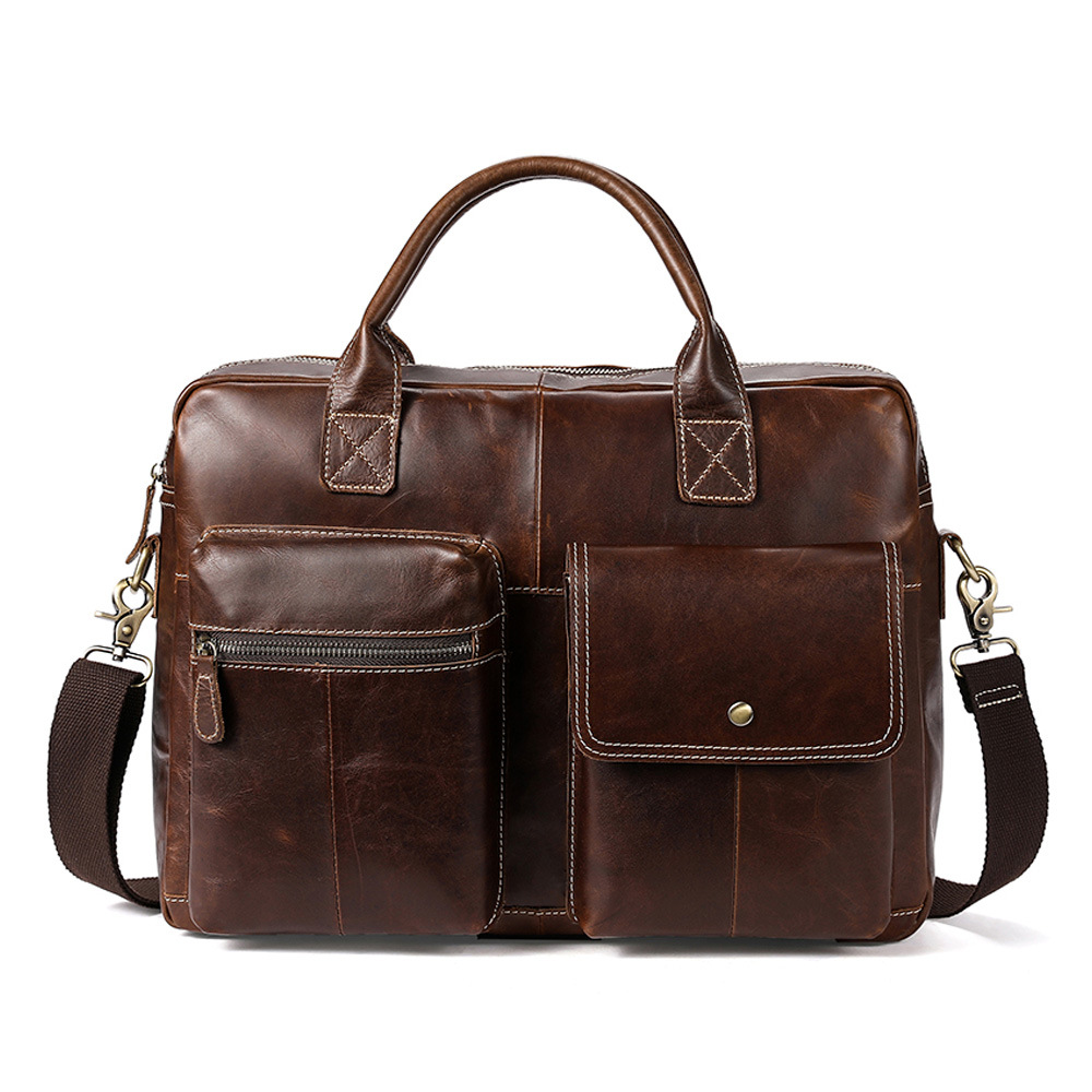 Fashion Retro designer handbags high quality multifunctional large capacity genuine Genuine Leather mens laptop briefcases