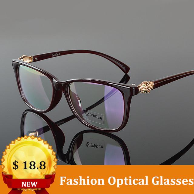 Óculos de qualidade Mulheres Leopard Cabeça Óculos com Lentes Claras