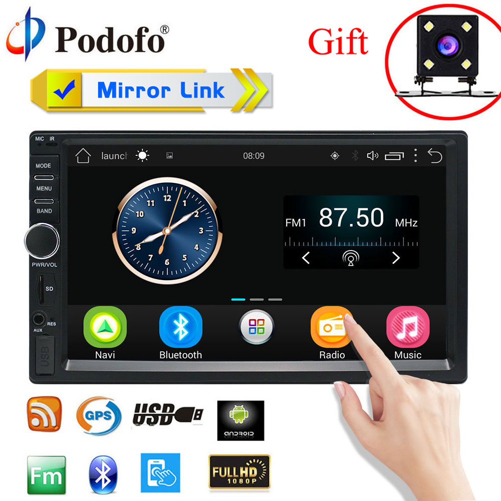 Podofo Android 6.0 autoradio Mirror link 2 Din 7″Touch Screen Car Radio MP5 Player Bluetooth Car Audio Support Rear View Camera