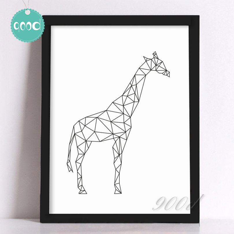 Buy Geometric Giraffe Canvas Art Print Painting Poster Wall Pictures For Home