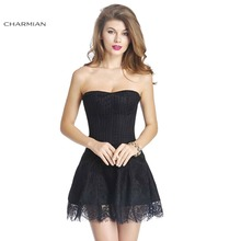 Charmian Women's Gothic Retro Victorian Stripe Lace Boned Corset Dress Wedding Party Corset Dress