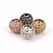1pc DIY Jewelry Spacer Beads 8mm Black/Silver/Gold/Rose Gold Best Quality Micro Pave Black CZ Metal Round Beads