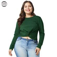 2018 New Winter Big Size T Shirt Women Sexy Tie Shirts Women Casual O Neck Long Sleeve Tops Plus Size Green 4XL Tee Shirt Femme plus size cowl neck long sleeve tee