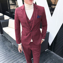 Mens Suit Latest Coat Pant Designs Plaid Plus Size M-5XL Slim Fit Wedding Prom Suits 3 Piece ( Blazer + Vest Pants ) 2018