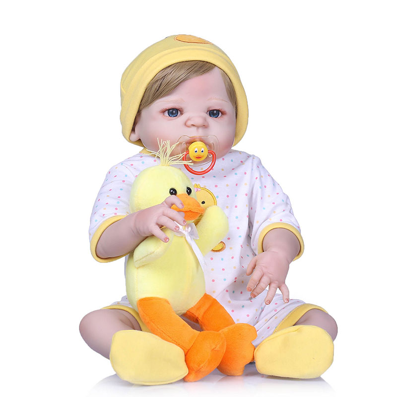 56CM Baby Reborn Doll Full Body Silicone 3D Lifelike Jointed Newborn Doll Playmate Gift YH-17 56cm baby reborn doll full body silicone 3d lifelike jointed newborn doll playmate gift bm88