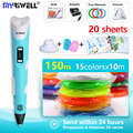 myriwell 3 d pen 3d pens +150m filament 1.75mm 3d model Creative 3d pen 3d printer pen Best Christmas present / birthday present