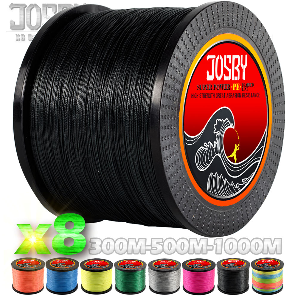 JOSBY 300M 500M 1000M  8 Strands  PE  Braided Fishing Line Multifilament Super Strong Fishing Line Multicolour Sea Fishing Line