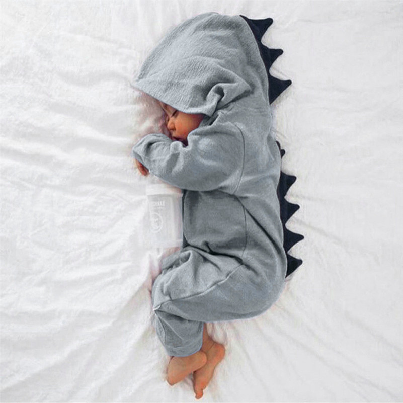 2017 Newborn Infant Baby Boy Girl Dinosaur Hooded   Romper   Jumpsuit Outfits Clothes D50