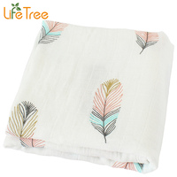 Baby Blanket Breathable Muslin Wrap Newborn Cotton Bamboo Fiber Baby Swaddle Bear Pattern Multifunction Muslin Bedding