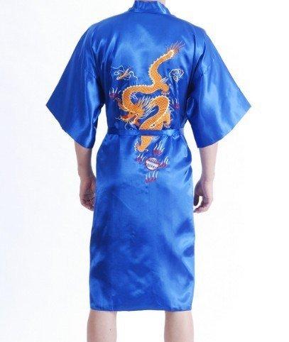 Envío Gratis Nuevo Azul los hombres del Traje de Satén de Poliéster Bordar Dragón Kimono Robe Gown Wholesale Retail Sml XL XXL XXXL
