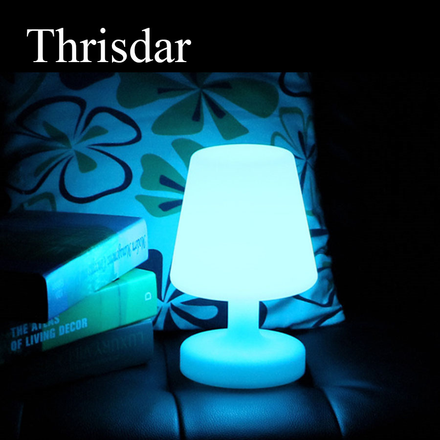 Thrisdar 16 Color RGB LED Bedside Table Light USB Rechargeable LED Illuminated KTV Hotel Restuarant Bar Table Lamp semicircle rgb led illuminated furniture bar table lamps rechargeable night bar ktv lamp remote controller outdoor table lamp