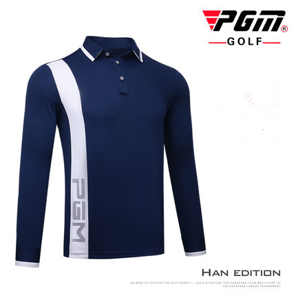 PGM Golf Sportswear Autumn long sleeve Golf POLO Shirt Mens Sports Breathable elastic Quick Dry Button collar Golf T-shirt tops