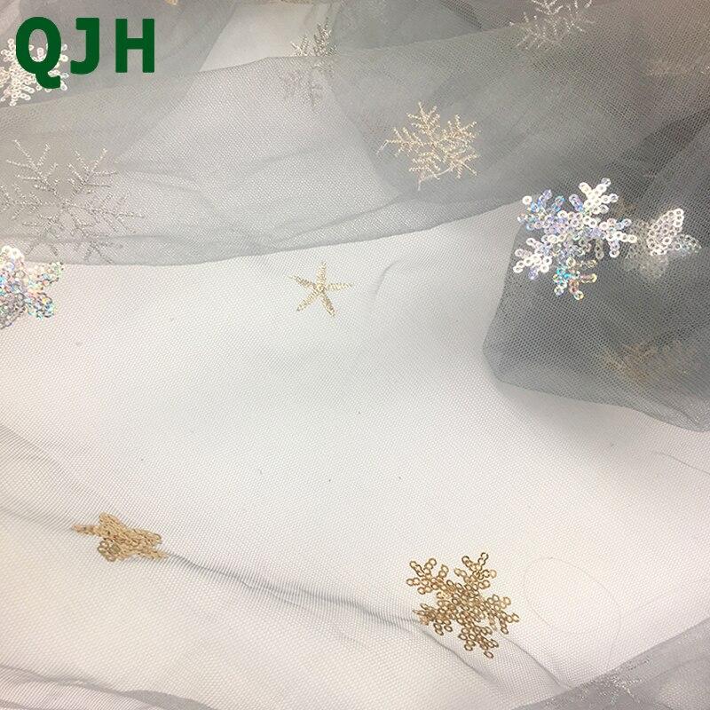 Estrella y del copo de nieve patrón lentejuelas encaje bordado 2018 ...