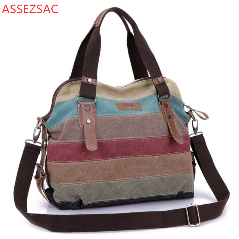 Shoulder-Bags Canvas Beach-Bag Splicing-Shopping Rainbow Tote-Hand Trendy Fashion Women