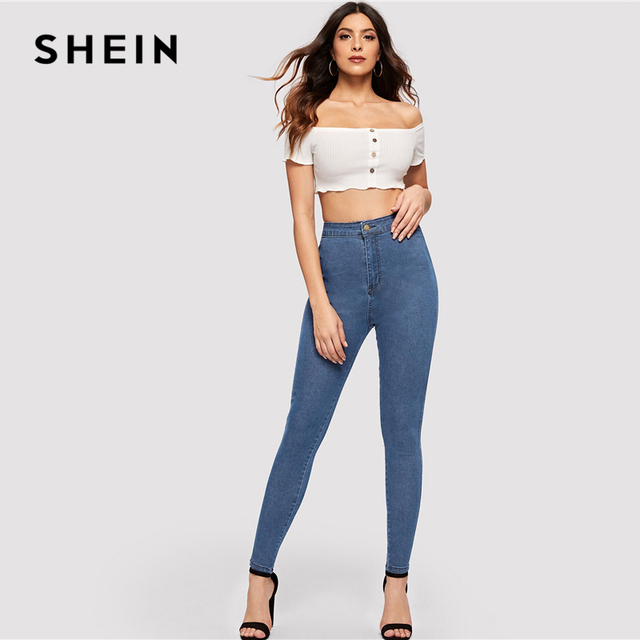 SHEIN Solid Skinny Jeans 2019 Spring Autumn Skinny Stretchy Jeans Blue Navy Woman Solid High Waist Denim Long Trousers 2