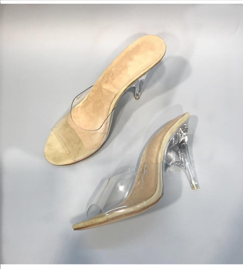 Été 8cm Cm Heel Toe Prix Diapositives Talons À Sandales 11 Femmes Pour Haute Gelée Dames Sexy Transparent Pantoufles Étrange Pvc Heel Cristal Peep Réduits Chaussures q1gqpxwS
