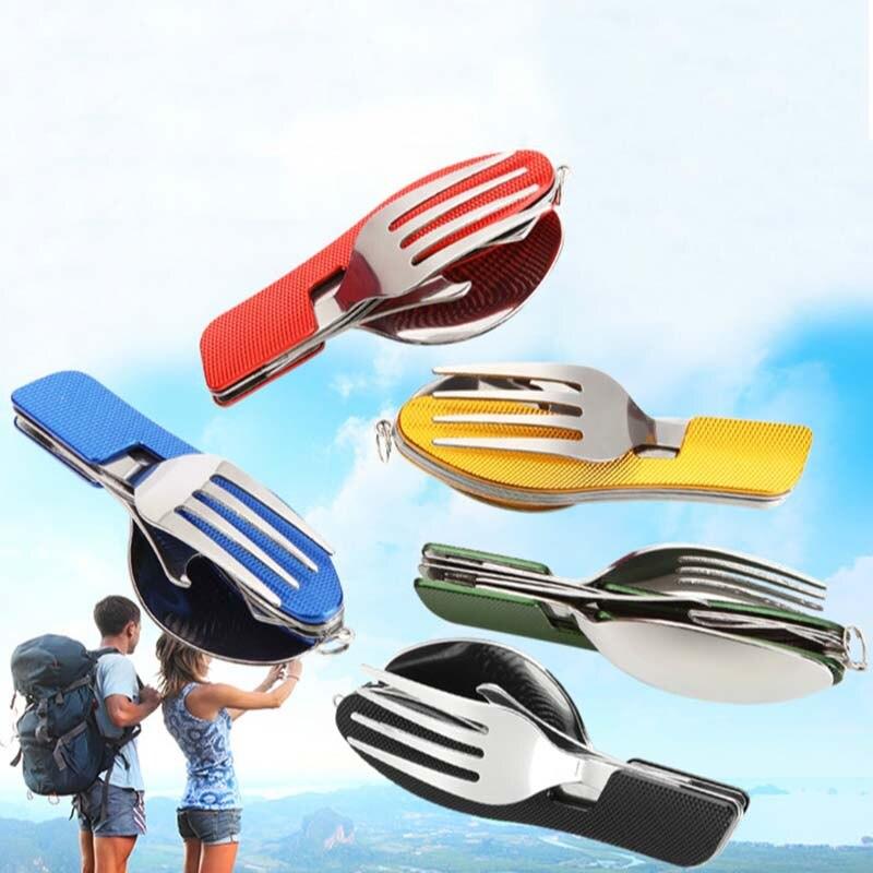 Outdoor Camping Picnic Tableware (Fork/Spoon/Knife/Bottle Opener) Folding Pocket Sets Stainless Steel Travel Spork Survival Tool picnic