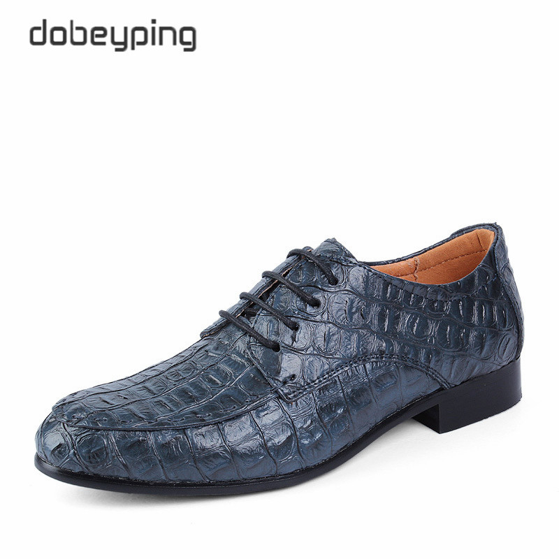 Man Oxfords Shoes 2016 New Fashion Pointed Toe Business Flat Shoes Casual Lace-Up Men's Alligator Leather Shoe Large Size 38-50