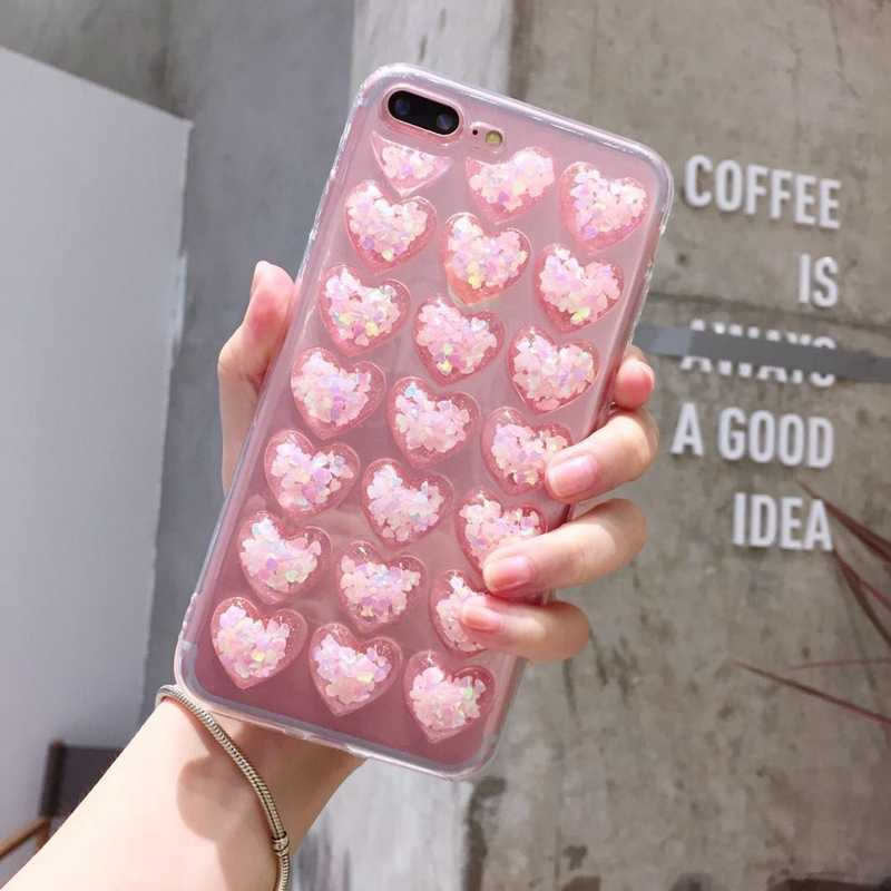 3D Glitter iPhone 8 Love Heart Case Soft Tpu Bling Cover for