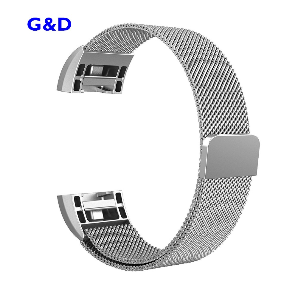 XG383 Watchbands Stainless Steel Milanese Metal Bracelet Replacement Wristband with Magnet Clasp for Fitbit Charge2