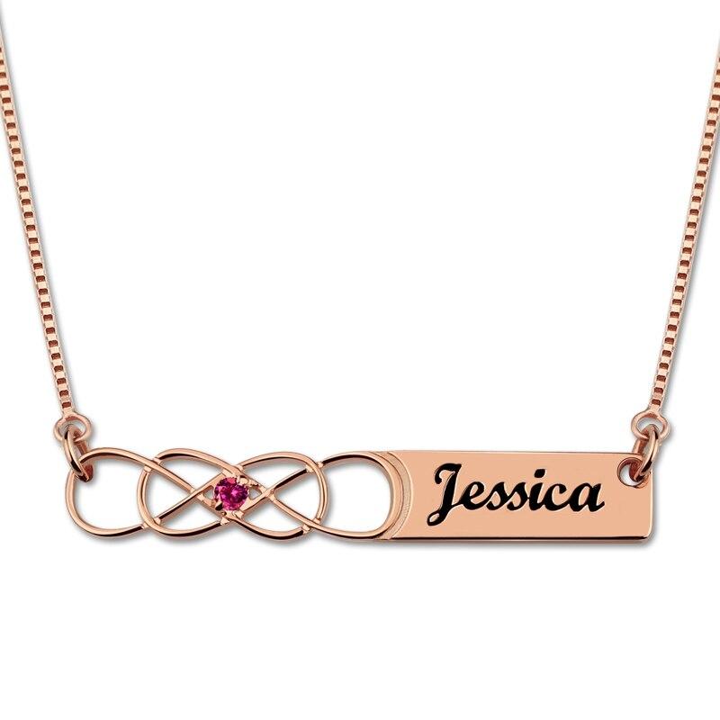 Collier de Bar AILIN Infinity avec pierre de naissance couleur or Rose gravé collier de noms de Couple infini