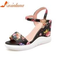 KARINLUNA Women's Flower Print Ankle Strap High Heel Wedge Summer Shoes Woman 2018 Open Toe Platform Sandals Big Size 33 42