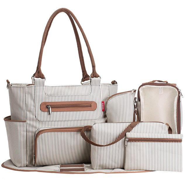 Large Capacity Stylish Diaper Bag 7 Pieces Set