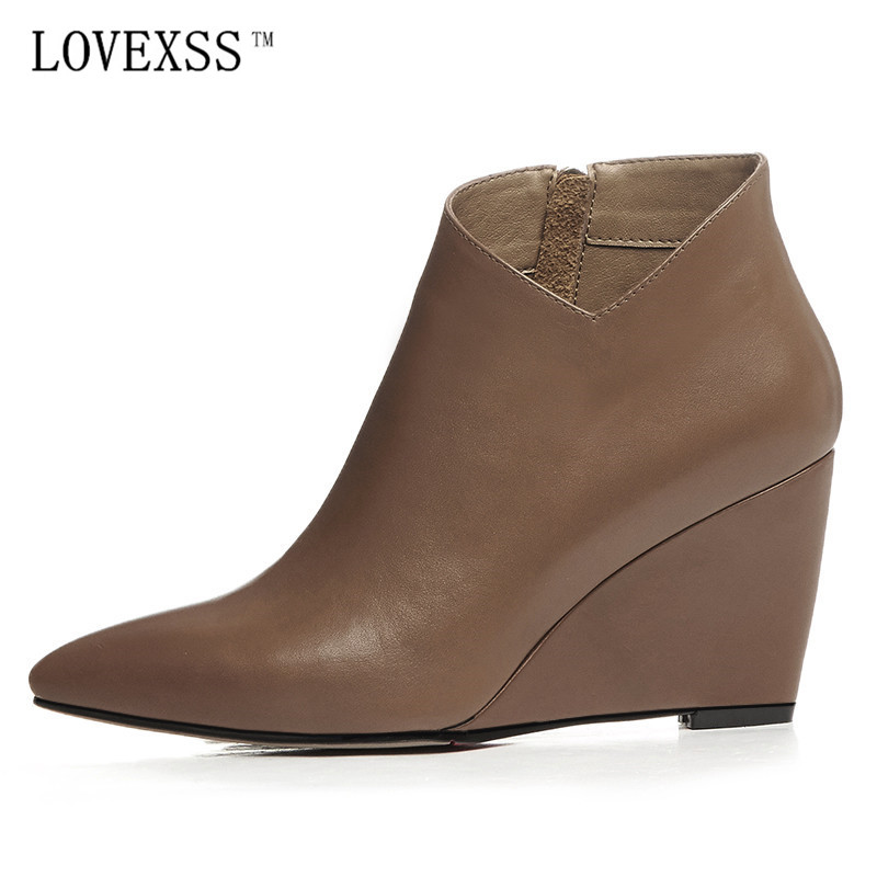 Фотография LOVEXSS Genuine Leather Ankle Boots 2017 Latest Winter Fashion Sexy Wedge Boots Black Brown Genuine Leather Pointed Toe Shoes
